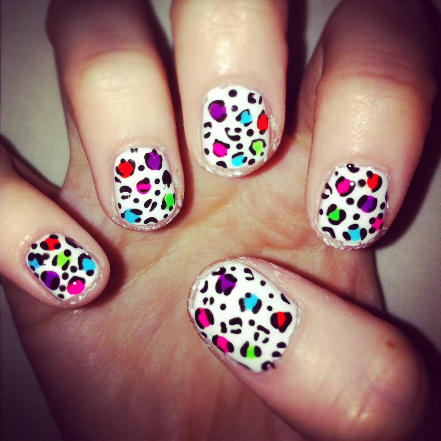 Colorful Leopard Print Nail Art