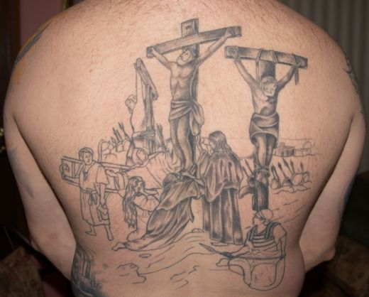 military soldier tattoo on back