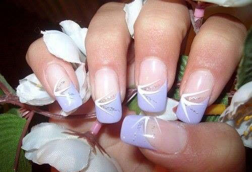 Cute purple french tip acrylic nail art prinsesfo Gallery