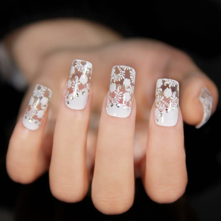 - Cute White Flowers Lace Nail Art Design