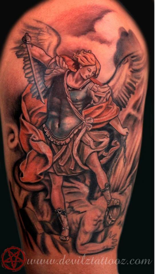 32 amazing half sleeve archangel tattoos. Black Bedroom Furniture Sets. Home Design Ideas