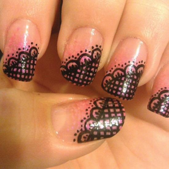 Diagonal Black Lace Nail Art Design