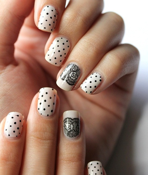 Easy Lace Nail Art With Polka Dots Design