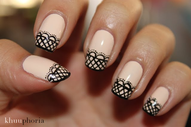 French Tip Black Lace Design Nail Art