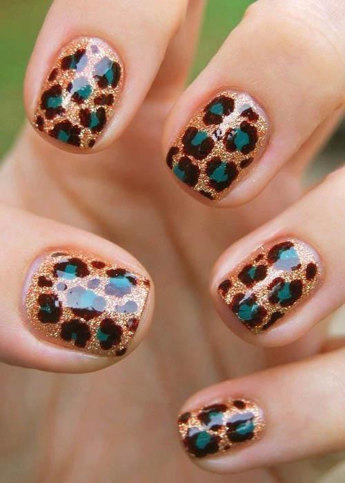 Glitter Base Nails With Green Leopard Print Nail Art