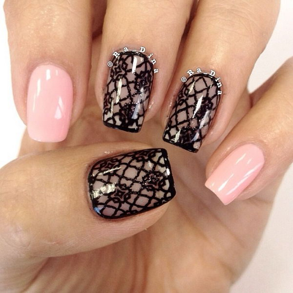 50 latest lace nail art design ideas glossy nude black lace nail art prinsesfo Image collections