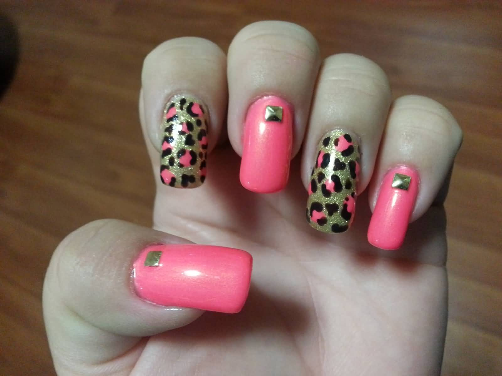 45 cute pink leopard print nail art designs gold and pink leopard print nail art prinsesfo Choice Image