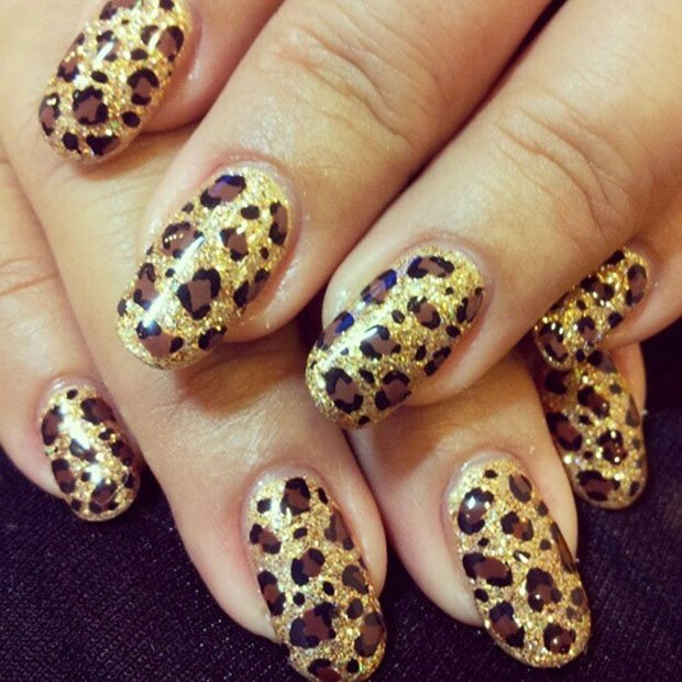 60 latest leopard print nail art designs golden leopard print nail art design idea prinsesfo Choice Image