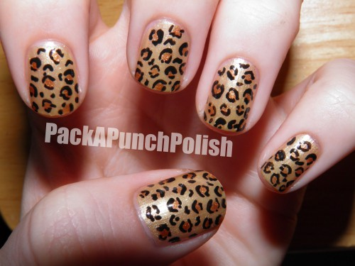 - Golden Leopard Print Nail Art Design