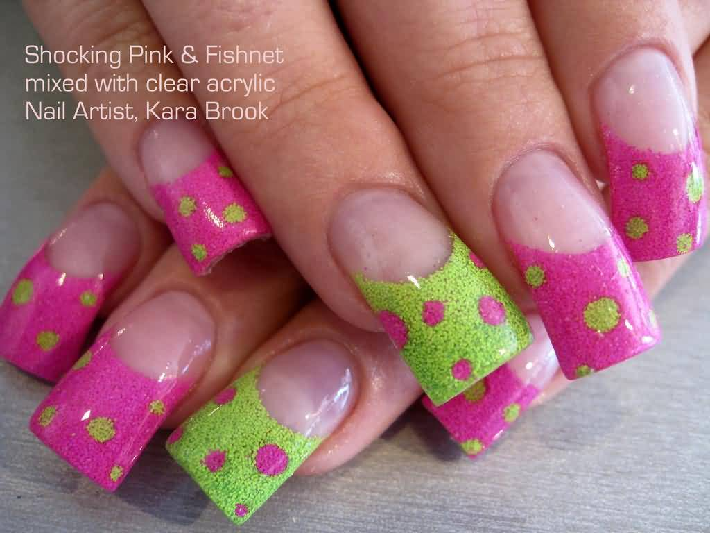 60 best pink acrylic nail art designs green and black french polka dots acrylic nail art prinsesfo Gallery