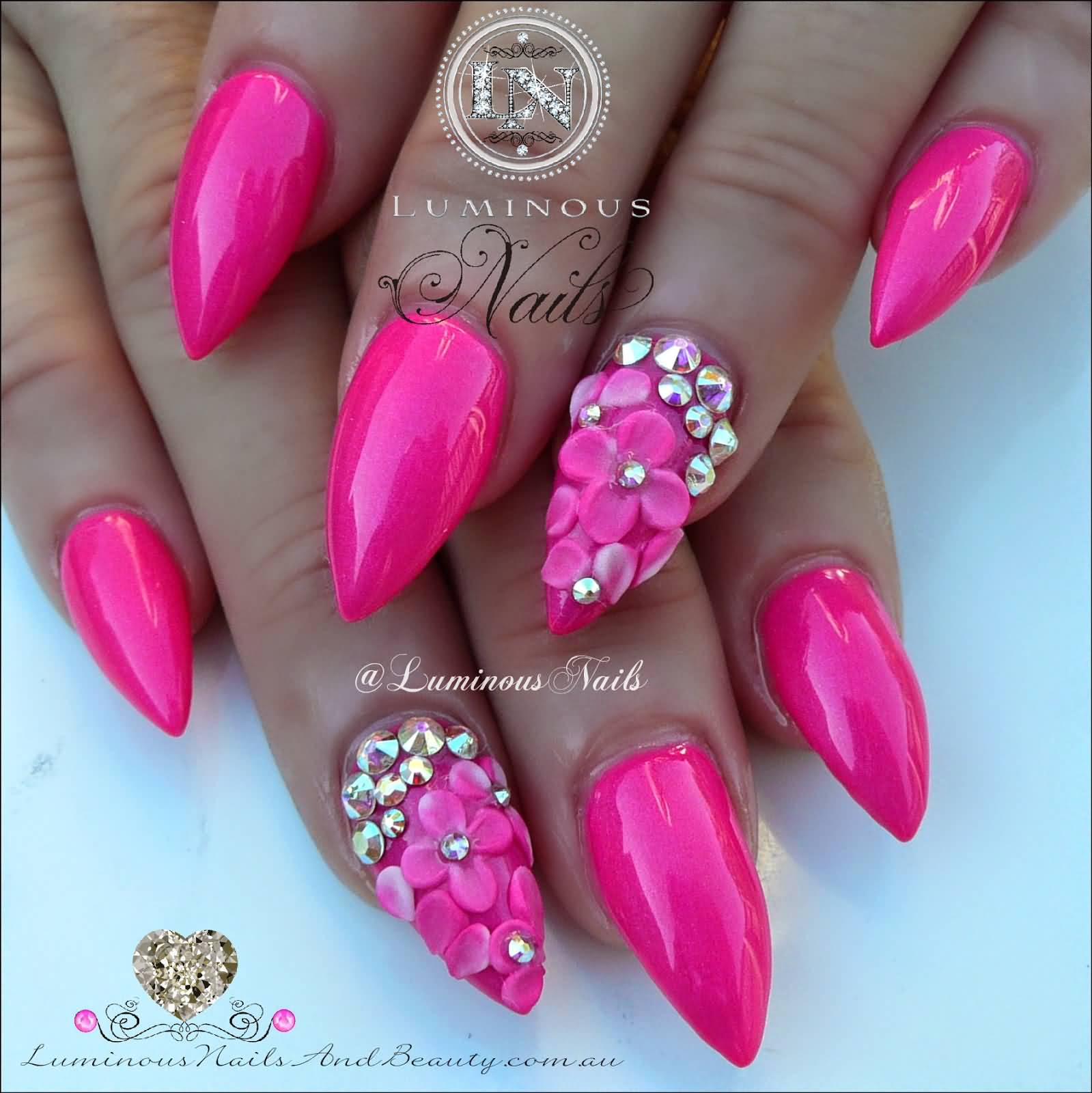 60 best pink acrylic nail art designs hot pink acrylic nail art with 3d flowers prinsesfo Choice Image