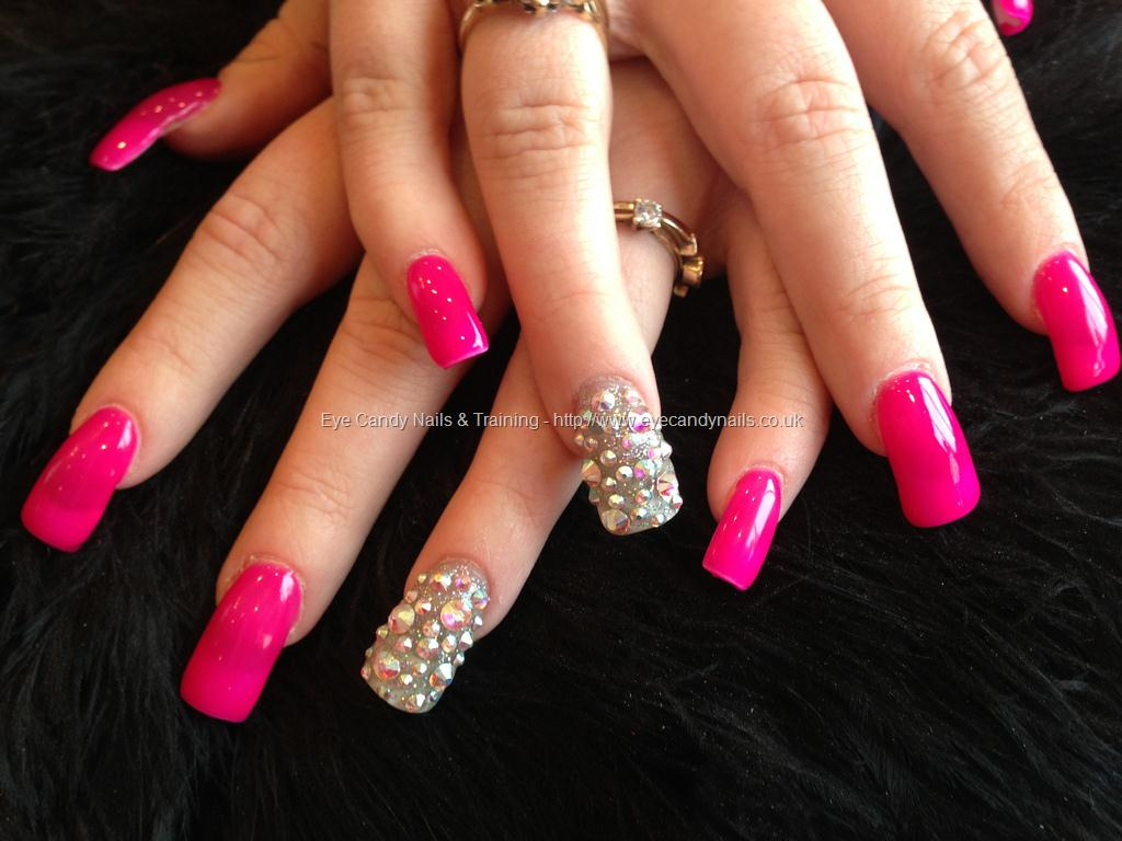 Hot Pink Acrylic Nail Art With Accent Rhinestones Design