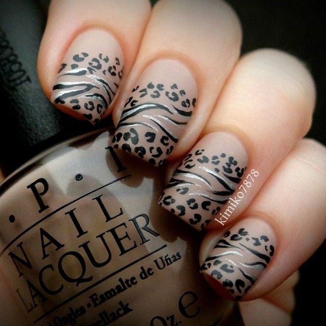 55 latest leopard print nail art design ideas for trendy girls leopard print and stripes design nail art prinsesfo Choice Image