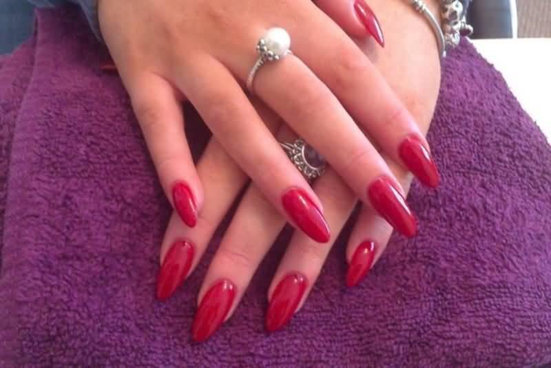 Long Red Almond Acrylic Nail Art