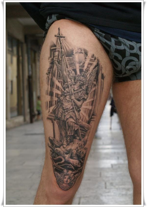 michael archangel tattoo on right thigh. Black Bedroom Furniture Sets. Home Design Ideas