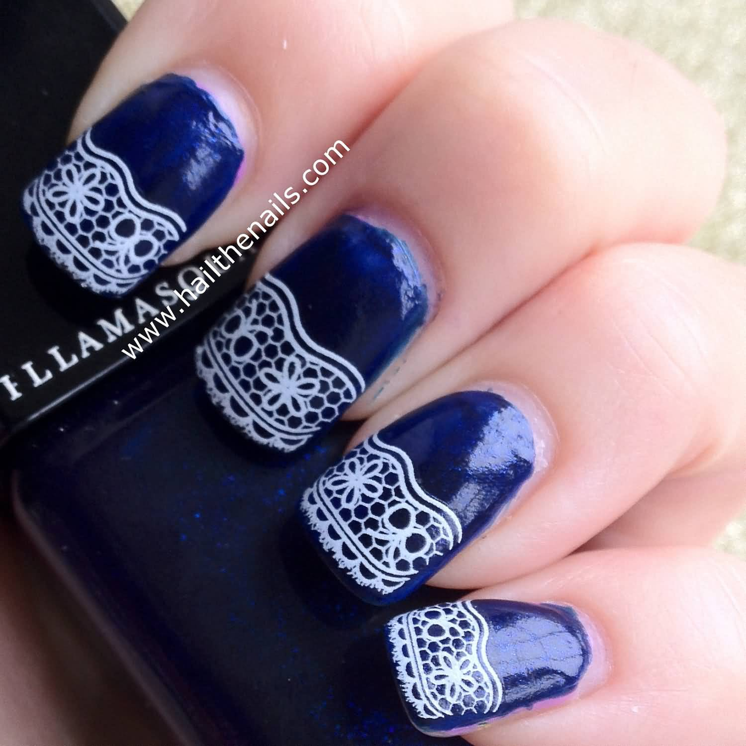 Nail Art On Navy Blue Nails: 50+ Latest Lace Nail Art Design Ideas