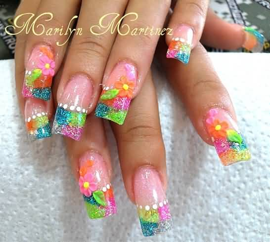 3d gel nail art flowers acrylic nails with d flowers gel extension gel nail art view images neon prinsesfo Images