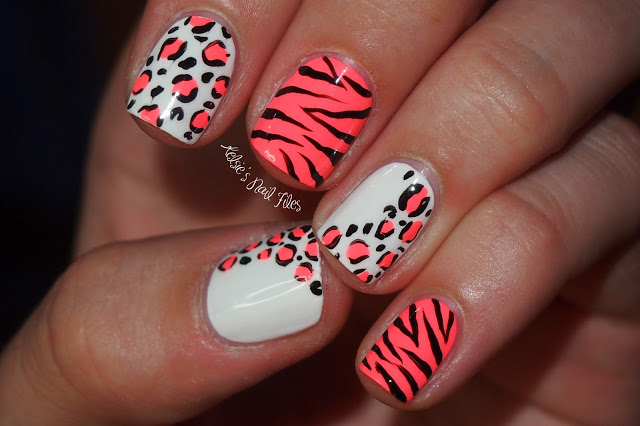 Neon Zebra Print And Leopard Print Nail Art Design