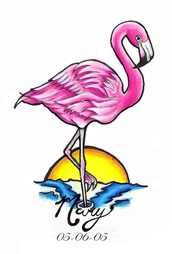 Name tattoo designs on bicep bicep name tattoo ideas - 22 Cute Flamingo Heart Tattoos
