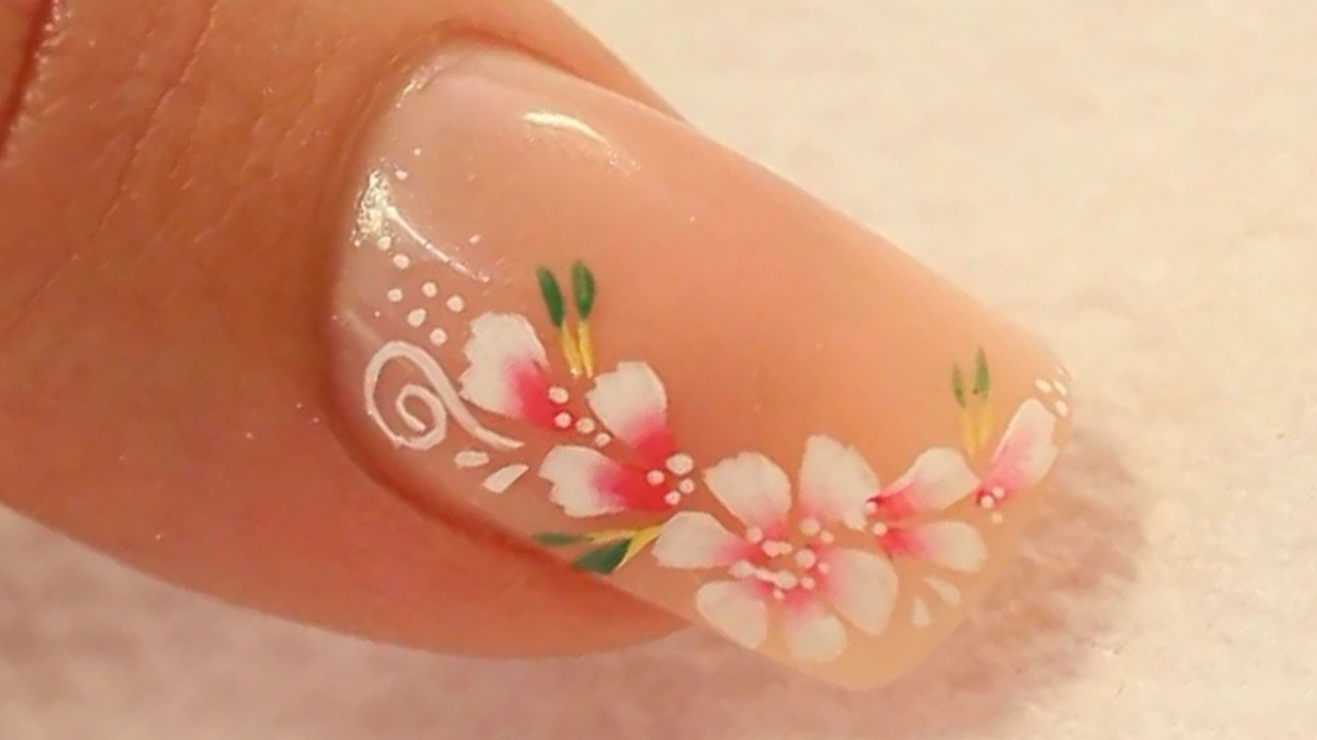 Nude nails with cute flowers acrylic nail art prinsesfo Images
