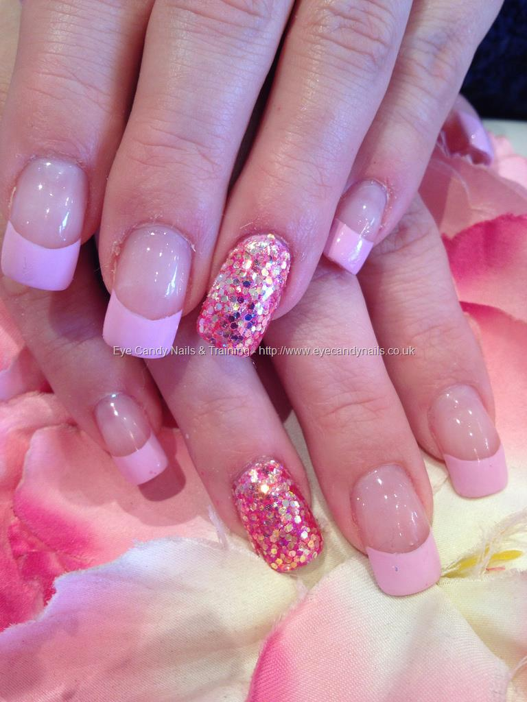 Nail designs pink beautify themselves with sweet nails pastel pink acrylic nail art with accent glitter design prinsesfo Images