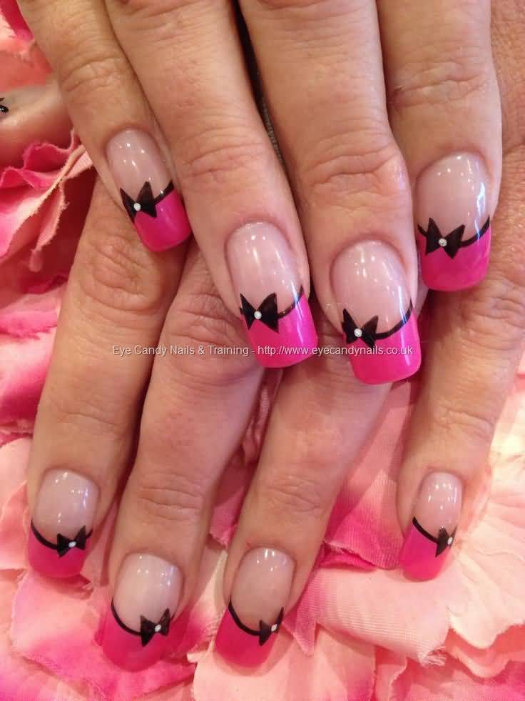 Pink Acrylic French Tip Nail Art With Black Bow Design - 60 Best Pink Acrylic Nail Art Designs