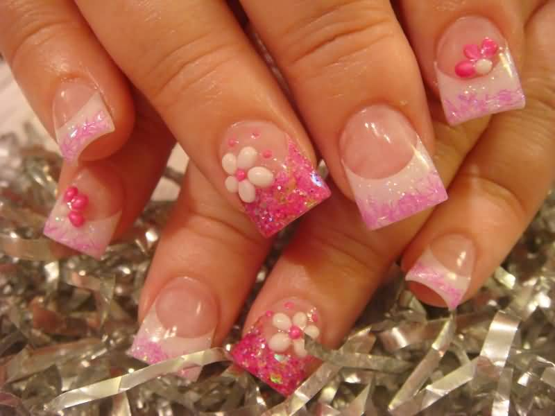 55 most beautiful acrylic nail paint design ideas pink acrylic french tip nail art prinsesfo Images