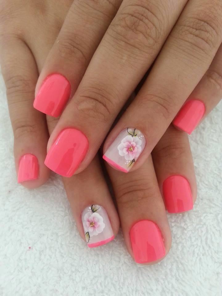 50 most stylish acrylic nail art design ideas pink acrylic nail art with accent floral design prinsesfo Choice Image