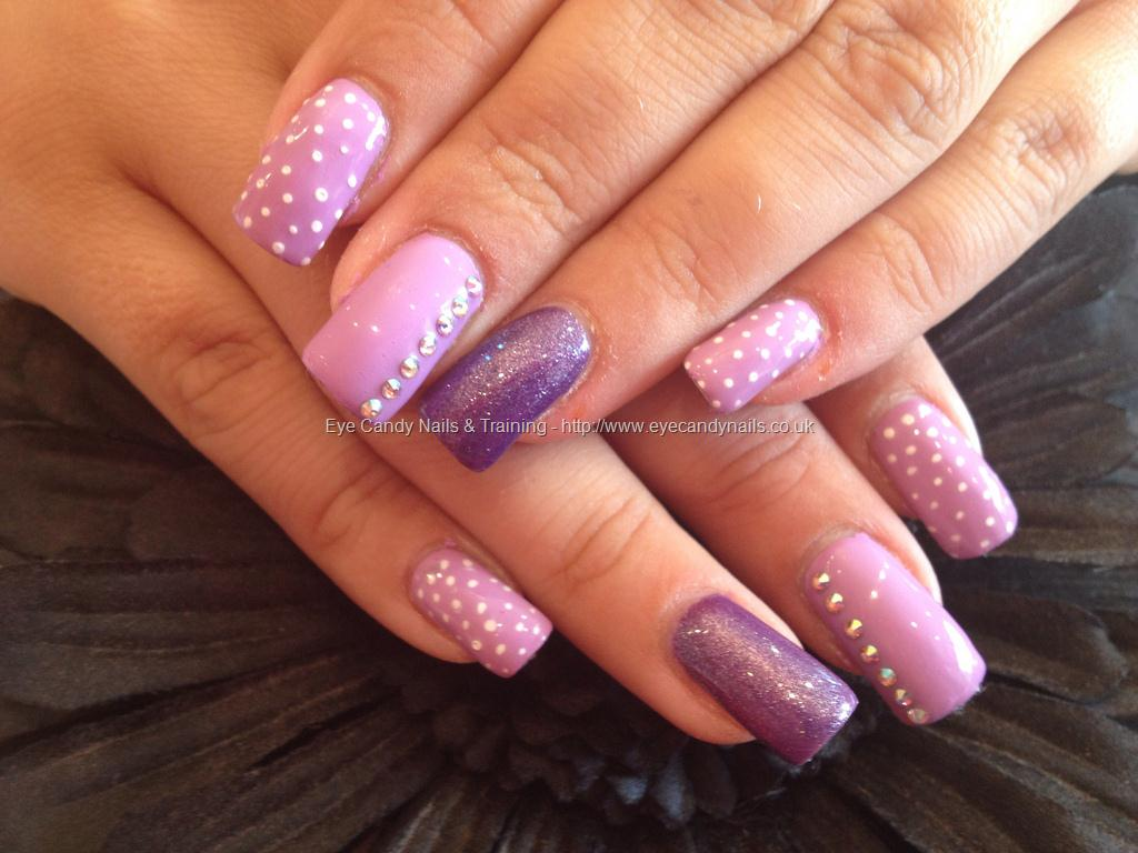 Pink Acrylic Nail Design With Rhinestones