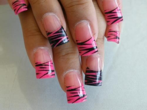 50 most stylish acrylic nail art design ideas pink and black zebra print french tip acrylic nail art prinsesfo Images