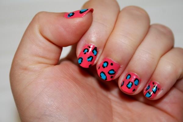 Blue And Black Leopard Print Nail Art