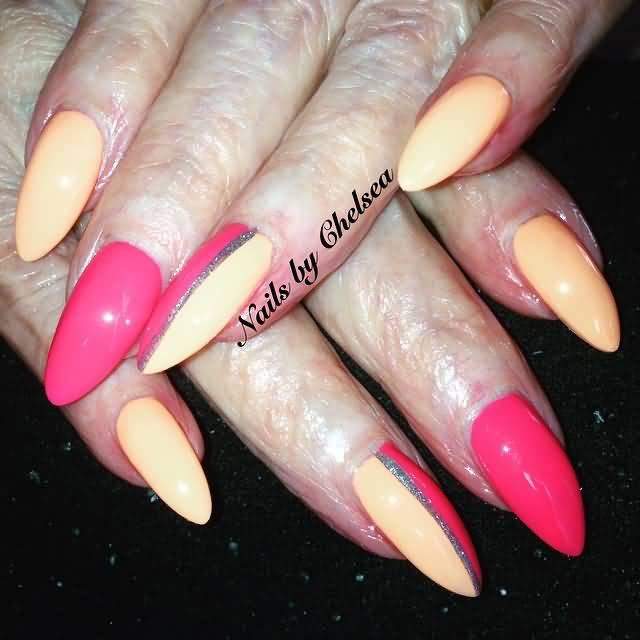 Pink And Peach Almond Shaped Acrylic Nail Art