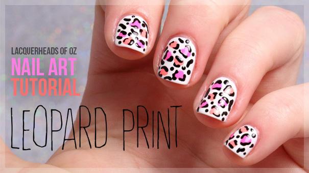 Pink And Peach Leopard Print Nail Art