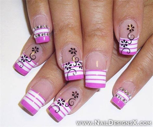 - Pink And White Acrylic Stripes Design Nail Art