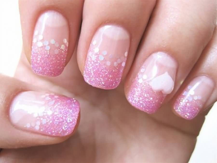 60 best pink acrylic nail art designs pink glitter acrylic nail art with 3d heart design prinsesfo Choice Image