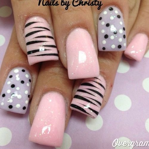 Pink Zebra Print And Polka Dots Acrylic Nail Art Design - 60 Best Pink Acrylic Nail Art Designs