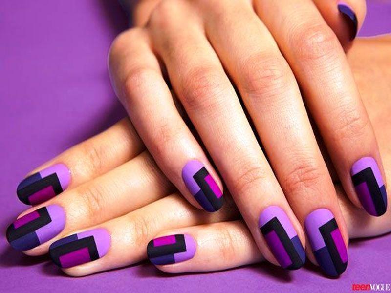 Purple And Blue Pattern Design Matte Nail Art