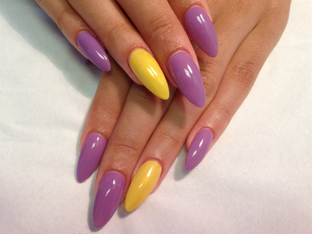 Purple And Yellow Simple Almond Acrylic Nail Art