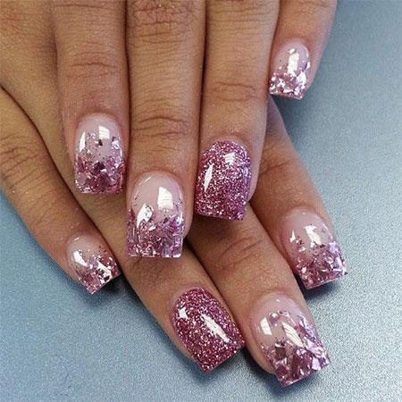 Acrylic Nail Designs Pink Glitter Splendid Wedding Company