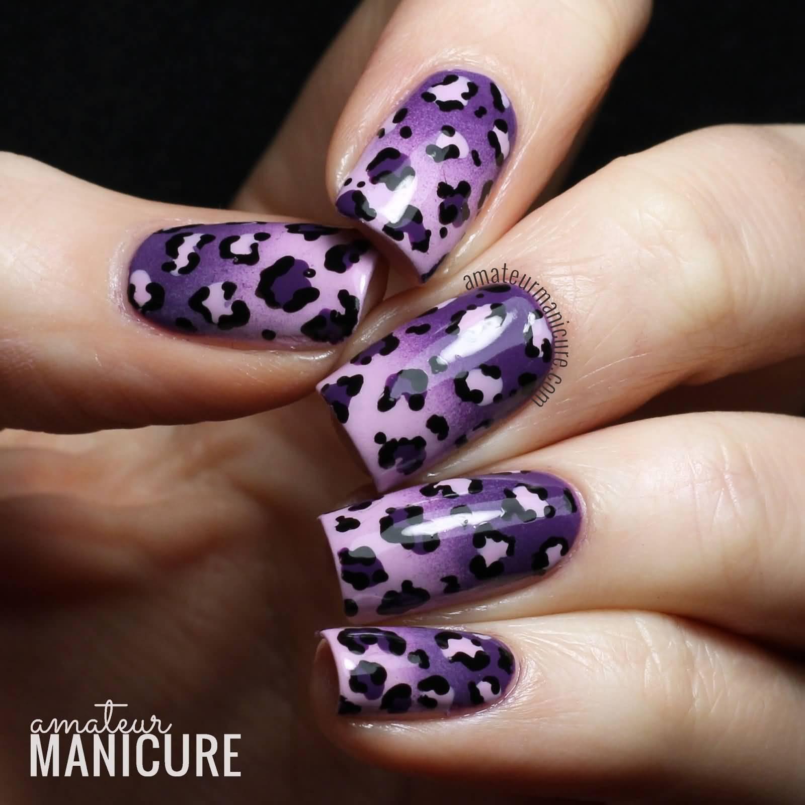Fabulous Purple Leopard Print Nail Design VD62