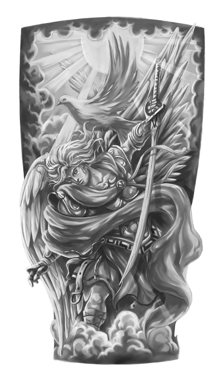 Realistic Archangel Tattoo Design Stencil