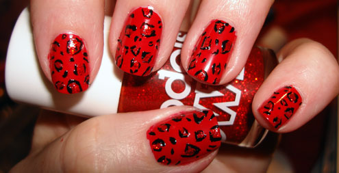 Red Leopard Print Nails Red And Black Leopard ...