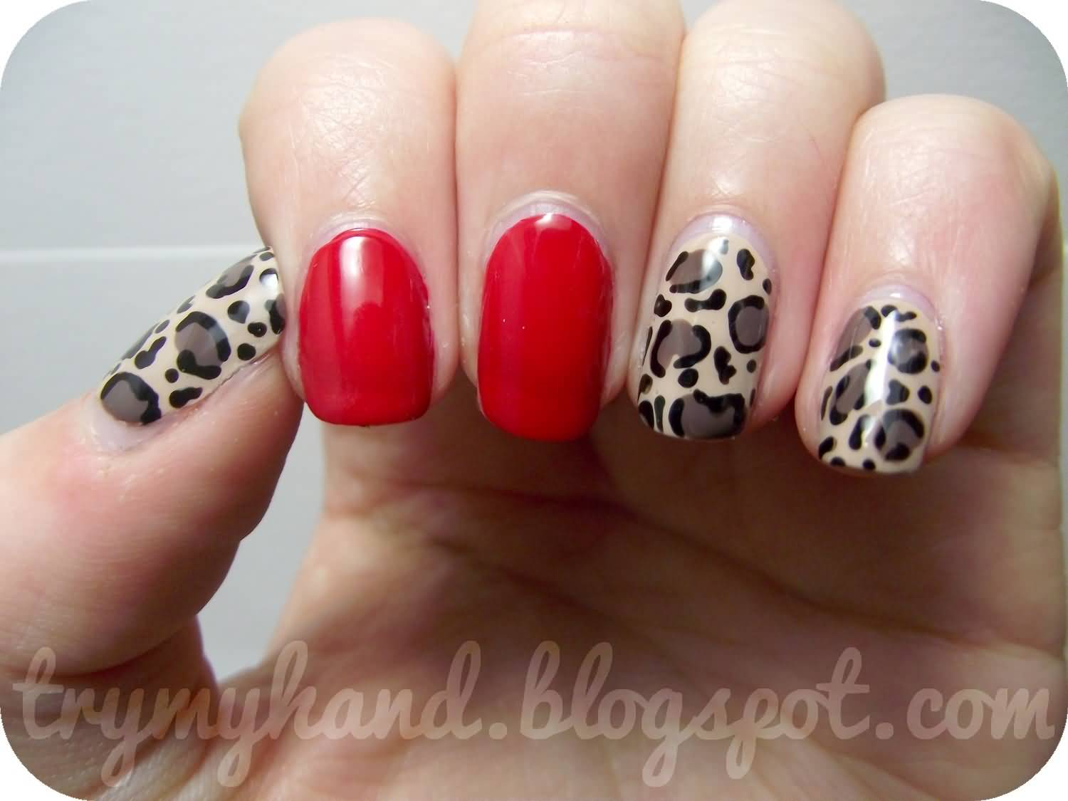 Nail art designs besides red nail art designs on top nail art images - Red Nails With Leopard Print Nail Art Design