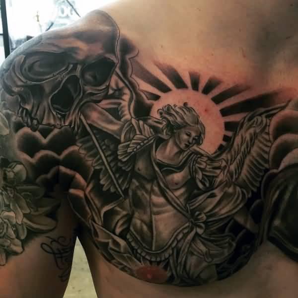 e5a258126 Saint Michael Archangel Tattoo On Right Chest
