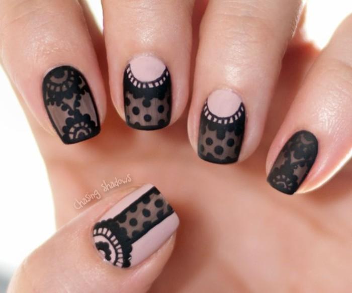 Sheer Black Lace Nail Art