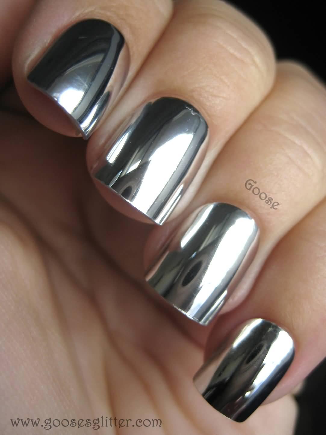 55 most amazing metallic nail art design ideas silver metallic nail art design prinsesfo Images