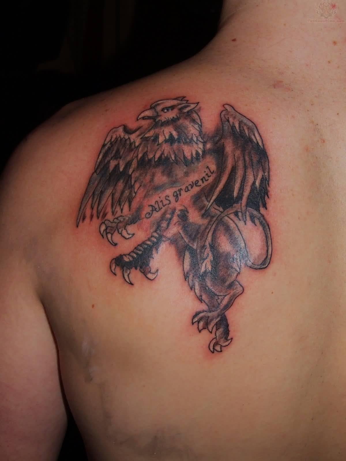6131341fe3715 Small Griffin Tattoo On Back Shoulder For Men