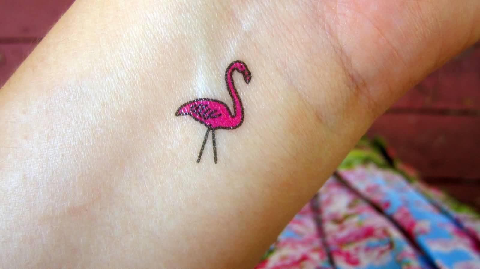 dfe2d1044 Smallest Nice Flamingo Tattoo On Wrist