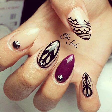 Stylish Almond Acrylic Nail Art Design