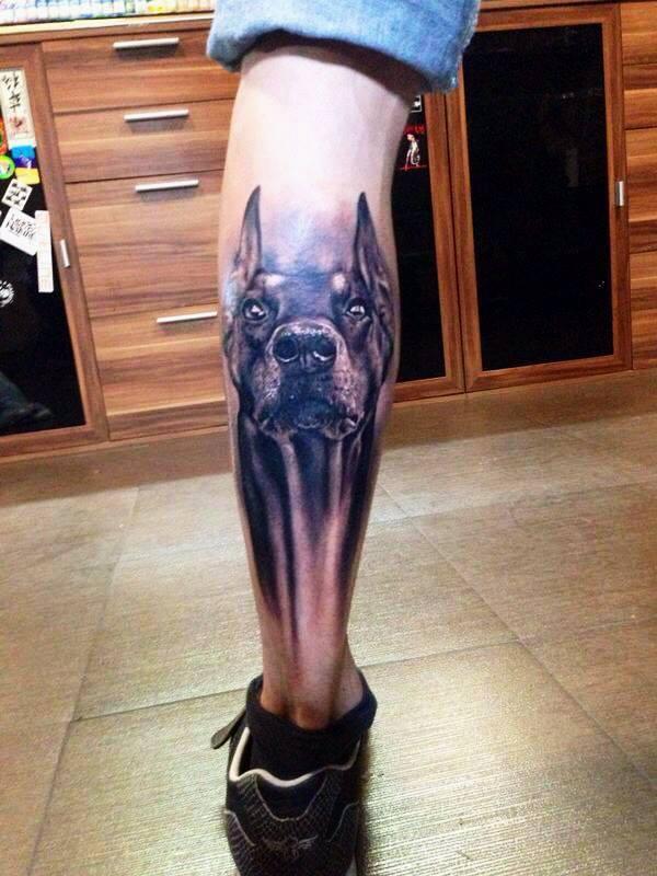 Superb Doberman Dog Tattoo On Leg